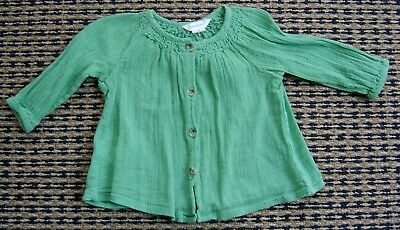 Country Road Baby Girls Green Smock Top / Blouse Sz  3 - 6 Months