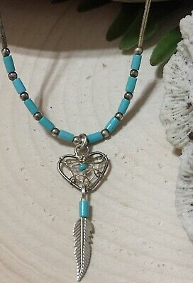 Native American Sterling Silver Turquoise Heart Feather Dream Catcher Necklace
