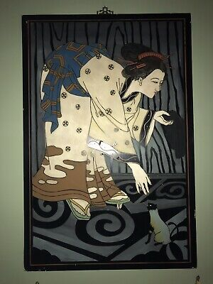"""Vintage Antique Asian Oriental Woman And Cat Wall Decor: Black Laquor 24.5""""x36"""""""