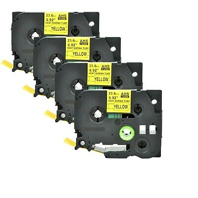 4x Heat Shrink Tube Label HSE651 for Brother P-Touch PT-P750WVP P950NW P900 24mm
