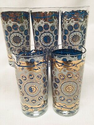 (5) *VINTAGE 1960's STARLYTE Zodiac ASTROLOGY Tall Tumblers GLASSES Blue & Gold