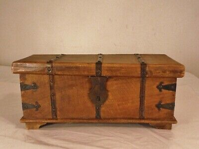 Antique handmade Wooden Footed Box Small Chest Iron Hardware Handles Lock Latch