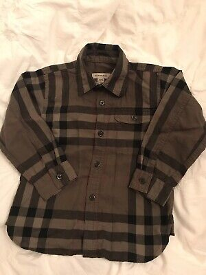 Pre Owned Toddler Burberry Boys Plaid Button Down Shirt Size 3Y FREE SHIPPING