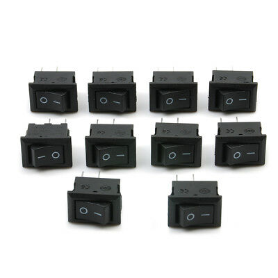 10Pcs/set SPST ON/OFF Switch Mini Black 2 Pin Rocker Switch DC 12V 16A 10x15mm