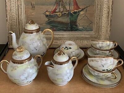 Lovely Antique Japanese Porcelain Eggshell Hand Painted Tea Set - 14 Piece