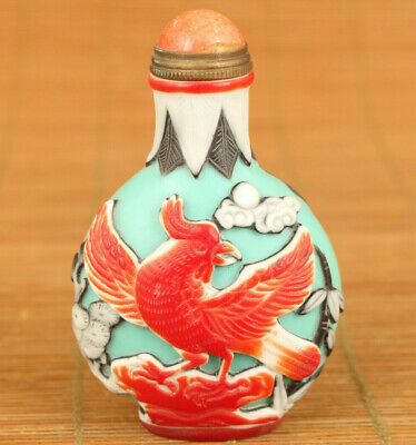 Asian rare old coloured glaze Handcarved chicken bird Statue Snuff bottle gift