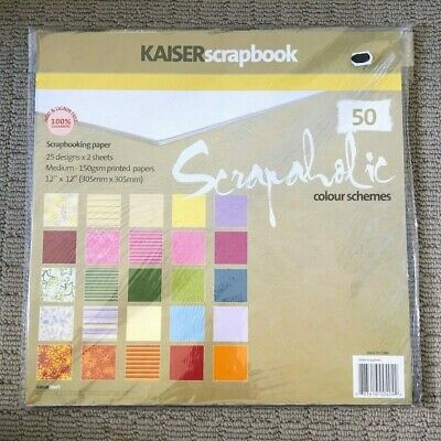 "KAISER SCRAPBOOK 25 ASSORTED DESIGN SCRAPBOOKING PAPER 12""x12"""