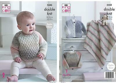 King Cole 5443 Knitting Pattern Baby Sweater Cardigan and Blanket in Melody DK