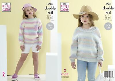 KNITTING PATTERN Ladies Easy Knit Two Colour Jumpers /& Scarves DK King Cole 4962