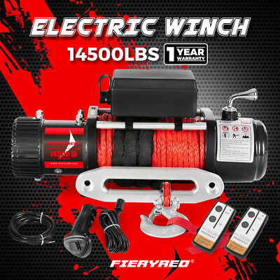 14500LBS 12V Electric Winch Synthetic Rope Wireless Remote 12000lb ATV 4WD Truck
