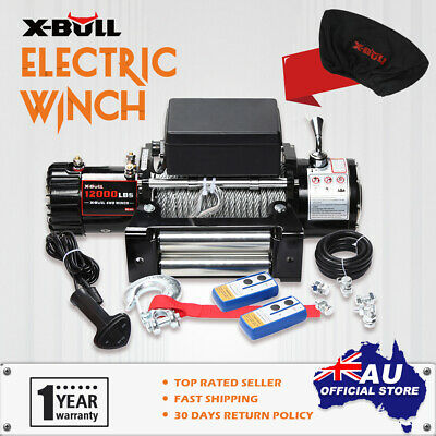 X-BULL 12000LB Electric Winch Wireless Steel Cable 12V  2x Remote & Cover 4WD