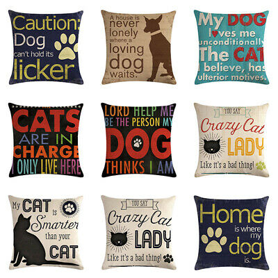 "1pc Pet Dog Lover Gifts Cotton Linen Throw Pillow Case Cushion Cover 18""x18"" AU"
