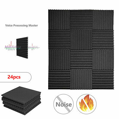 New 24Pcs Acoustic Wall Panels Sound Proofing Foam Pads Studio Treatments Tool