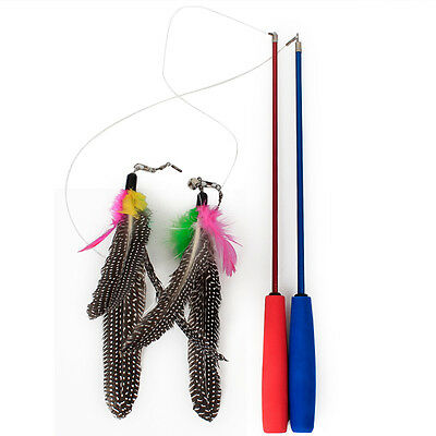 Cat play retractable feather teaser three section pets cat toy random colo~GN