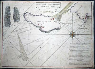 1791 - Large Antique Map ISLE OF PORTLAND Weymouth Shambles Collins  (LM4)