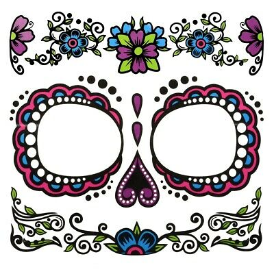 Day of the Dead Ladies Sugar Skull Temporary Fake Tattoo Kit DOD Face Decal Set