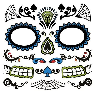 Men's Sugar Skull Face Day of the Dead Temporary Fake Tattoo Kit DOD Decal Set