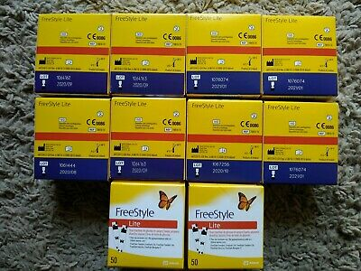 FREESTYLE LITE Glucose Blood Test Strips 50 - Lot of 10 boxes Expires 08/2020