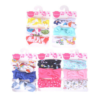 3Pcs/Set Kids Baby Girls Cotton Bowknot Headband Children Hair Band Headw~GN