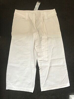 NEXT white cropped linen trousers BNWT size 12