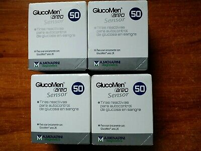 Glucomen Areo Blood Glucose Test Strips 50 pics - Lot of 4 boxes