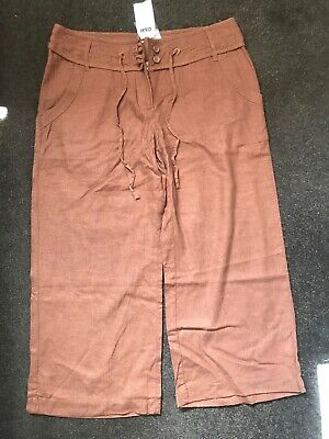 NEXT brown cropped linen trousers BNWT size 12