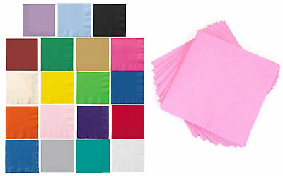 20 Paper Luncheon Napkins - 33cm - Party Tableware Plain Solid Colours Catering