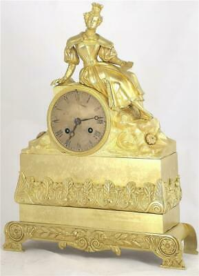Antique Mantle Clock French Ormolu Bronze 8 Day Figural Empire Bell Striking