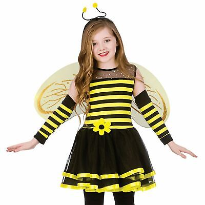 Girls Cute Bumble Bee Costume Insect Animal Kids Fancy Dress Outfit Ages 3-13