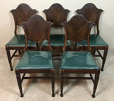 Set of 5 Antique Mahogany Dining Chairs Early American Vintage Brown Wood Chair
