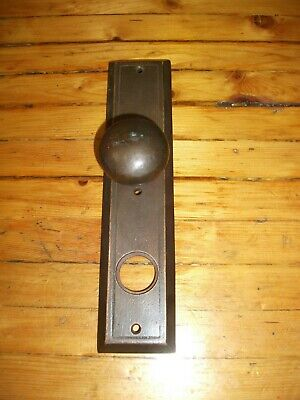 Vintage Large Heavy Solid Brass Door Handle Backplate - Modern