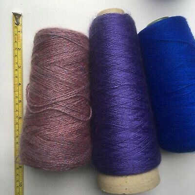 4 Cones Machine Knitting Yarn Wool Job Lot #8 Crochet Crafts Blue Purple Mix
