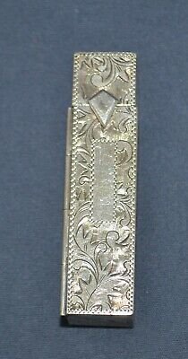 Vintage Sterling Silver Lipstick Case All Over Hand Chased with Mirror