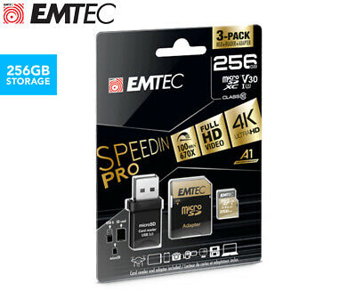 EMTEC 256GB Class 10 V30 SpeedIn Pro Micro SD Card w/ Adaptor & USB 3.0 Reader
