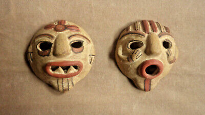 """Pair of Small Pottery Masks Pre-Columbian Reproductions - Each 4"""" in Diameter"""