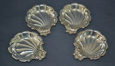 Set of 4 Lunt Eloquence Sterling Silver Shell Shaped Mint Dishes or  Butter Pats