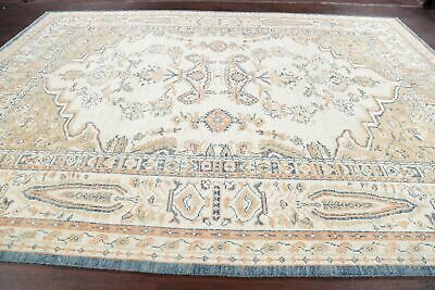 One-of-a-Kind 9x13 Oushak Turkish Hand-Knotted Oriental Area Rug Carpet IVORY