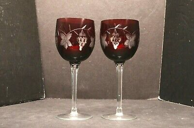 Set 2 Ruby Red Bohemian Czech Cut To Clear Crystal Wine Hocks Goblet Stems Glass