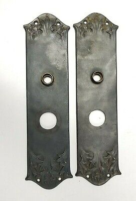 "Antique PAIR of Cast Iron Back plates by Yale & Towne 12 3/4"" x 3 1/8"" Exterior"