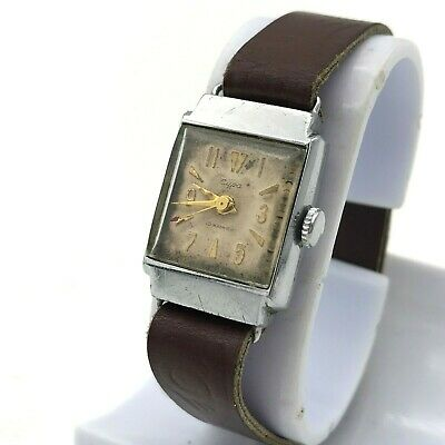 SURA Mechanical Men's Watch Retro Zaria Square Original Dial USSR Small Serviced