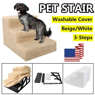Pet Stairs 3 Step Climb Dog Ladder w/ Cover Cat Ramp Steps Stair White/Beige US
