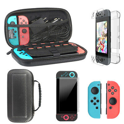 For Nintendo Switch Carry Case Bag +Screen Protector+Grip Cover+Protective Shell