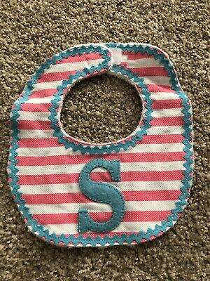 Mud pie Bib With Letter S Initial Letter Pink Blue Baby Girl Toddler
