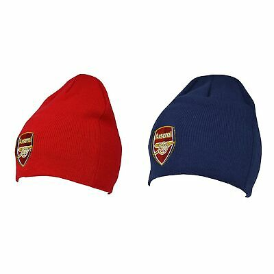 Arsenal FC Official Adults Knitted Football Crest Winter Beanie Hat (SG1788)