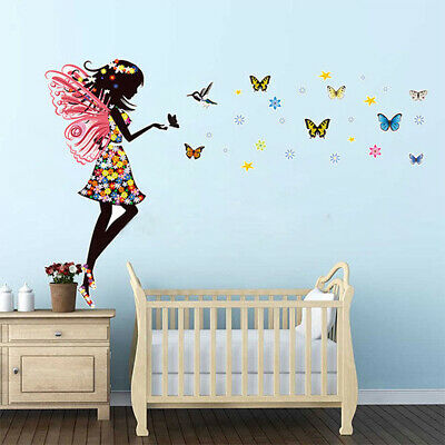 Butterfly Fairy Girl Flower decal wall sticker kid bedroom decor removable DIY