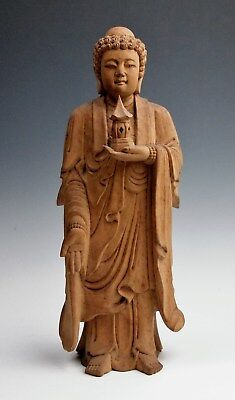 HAND CARVED BUDDHA STATUE Pure Land Wooden Japanese Buddhist Amida Peace Pagoda