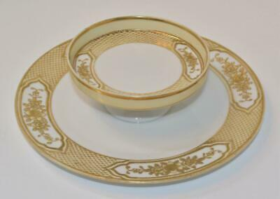 1910s MORIMURA NIPPON Japan Hand Painted Raised Gold FLOWERS Double Tiers Tray