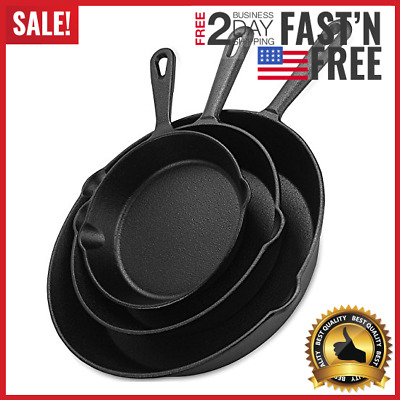 Pre-Seasoned Cast Iron Skillet 3 Piece Set Stove Oven Fry Cookware Pans Pots 10""