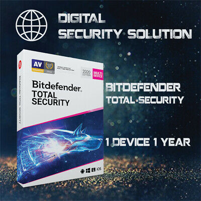 Bitdefender Total Security 2020-1 Device-1 Year Pre-activated (Read Description)