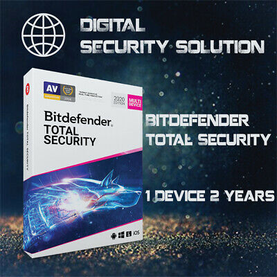 Bitdefender Total Security 2020-1 Device-2Years Pre-activated (Read Description)